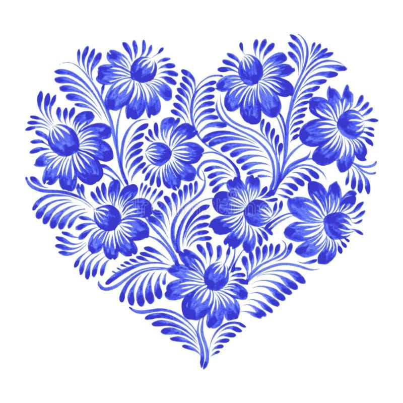 Kwiecisty dekoracyjny ornamentu serce ilustracji