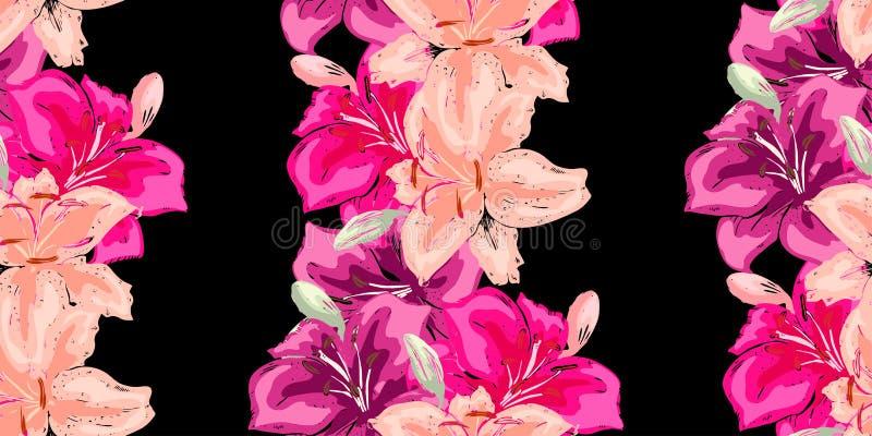kwiecisty deseniowy bezszwowy rocznik Piękna leluja kwitnie na czerni Abstrakcjonistyczna ręka rysujący wektorowy tło zdjęcie stock