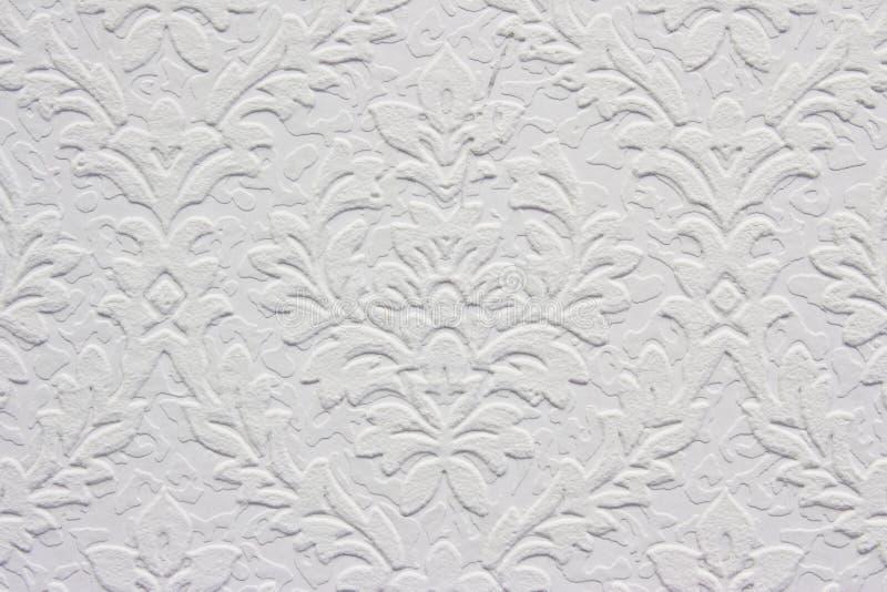 kwiecisty deseniowy rocznika tapety biel fotografia stock