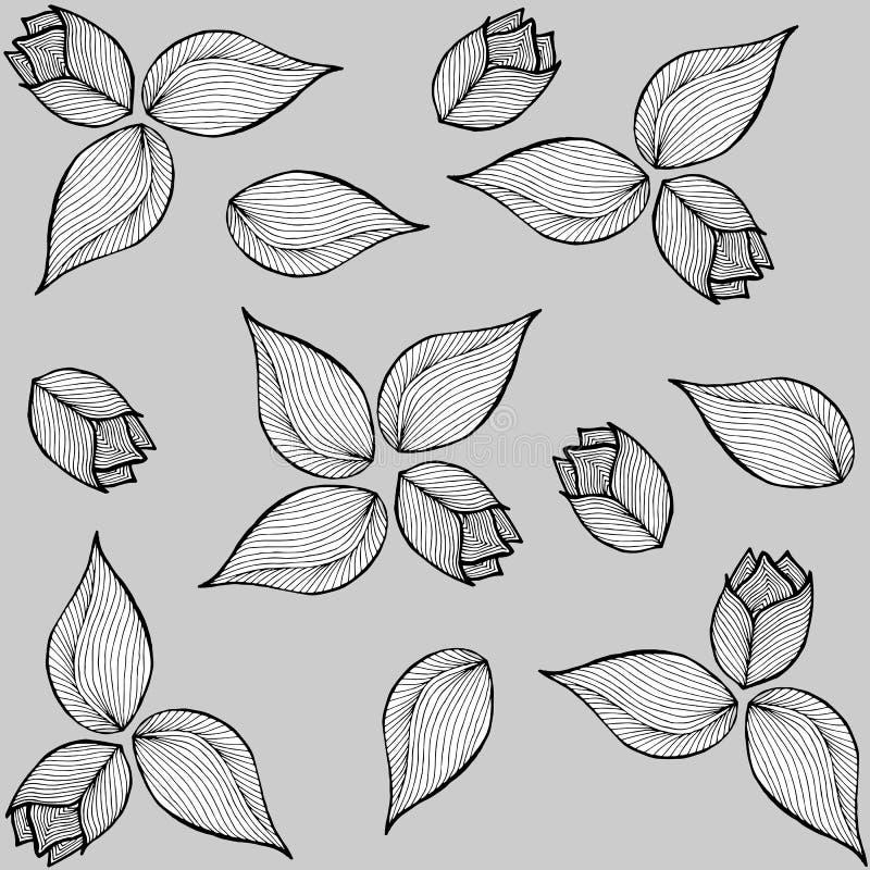 Kwiecisty doodle ilustraci wzór royalty ilustracja