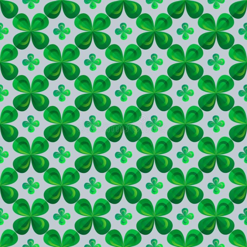 Kwiecisty druk Koniczyna opuszcza bezszwowego wektoru wzór St Patrick s dnia tło Shamrock tapeta ilustracji