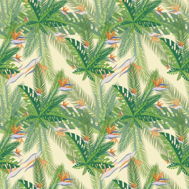 Kwiecisty druk Tropikalna palma opuszcza bezszwowego wzór również zwrócić corel ilustracji wektora fotografia stock