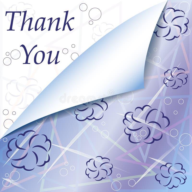 Kwiecisty Dziękuje Ciebie Karcianego z abstrakcjonistycznymi pociągany ręcznie kwiatami royalty ilustracja