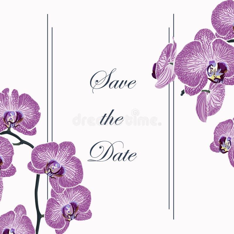 Kwiecisty elegancki zaprasza kartę z egzotyczną storczykową kwiat gałąź Może używać jako zaproszenie karta dla poślubiać, urodzin ilustracji