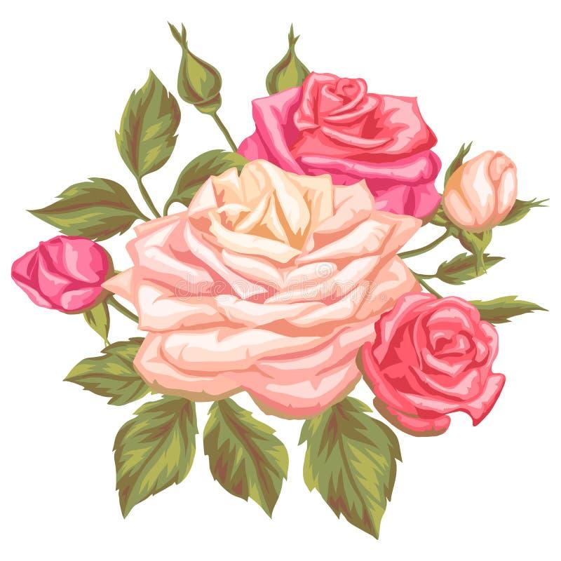 Kwiecisty element z rocznik różami Dekoracyjni retro kwiaty Wizerunek dla ślubnych zaproszeń, romantyczne karty, broszury ilustracja wektor