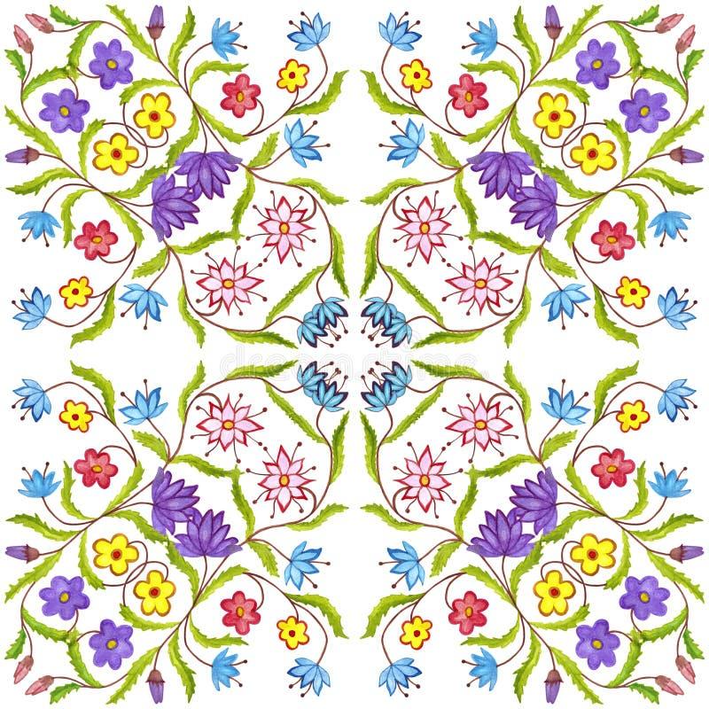 Kwiecisty geometryczny bezszwowy akwareli tło kleksy, kapinosy, niestaranna akwarela acrylic kolor?w papier ilustraci papier zdjęcie royalty free