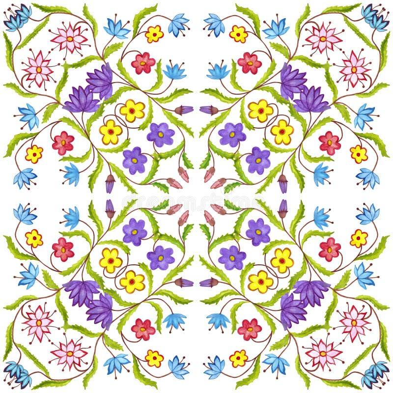 Kwiecisty geometryczny bezszwowy akwareli tło kleksy, kapinosy, niestaranna akwarela acrylic kolor?w papier ilustraci papier zdjęcia royalty free