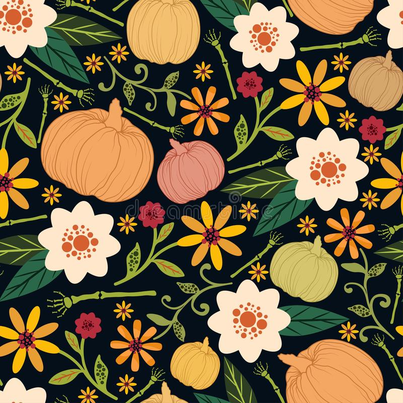 Kwiecisty Halloween bezszwowy wzór Kolorowy wektorowy tło z baniami zdjęcia royalty free