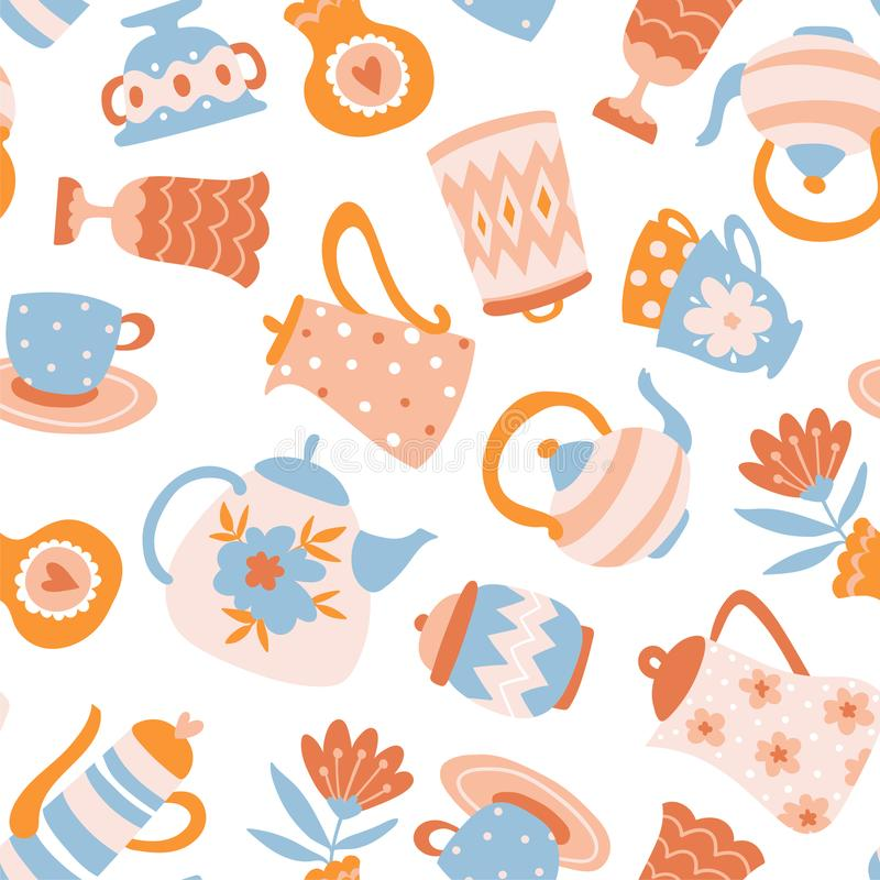 Kwiecisty Herbaciany wektorowy bezszwowy wzór Śliczny tkanina projekt Teapots, filiżanki i kwiaty odizolowywający na bielu, ilustracji