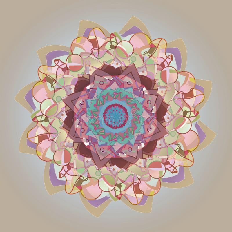 KWIECISTY I KÓŁKOWY mandala ŚRODKOWY kwiat Z LINIOWYMI okręgami PROSTY SZARY tło, ŚRODKOWY kwiat W PASTELOWYCH kolorów barłogu ilustracji