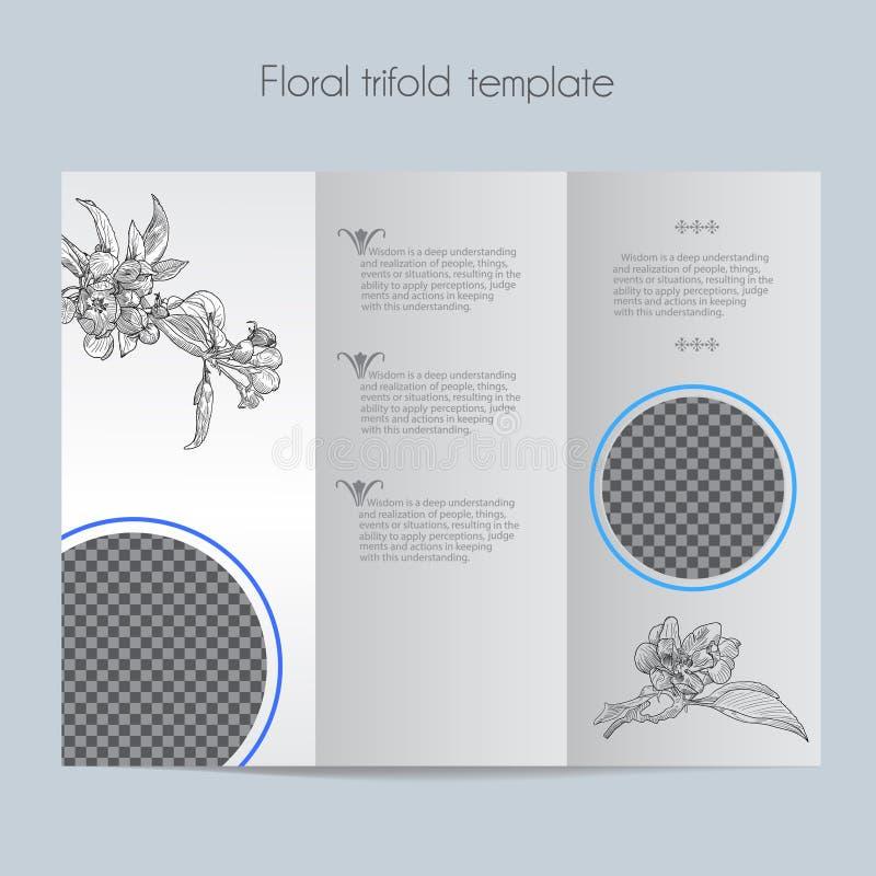 Kwiecisty jabłczany szablon & up trifold & próbny ilustracji