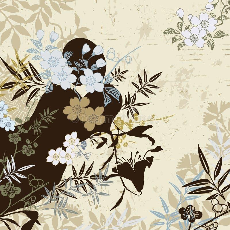 kwiecisty japończyk ilustracja wektor