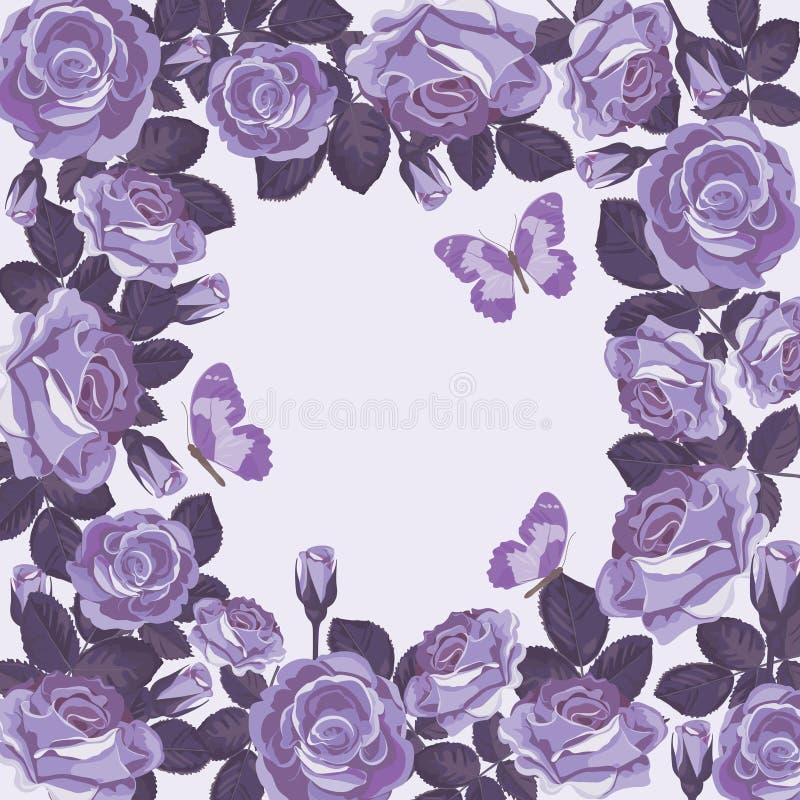 Kwiecisty karciany szablon z fiołkowymi różami i motylami piękna rama ilustracja wektor