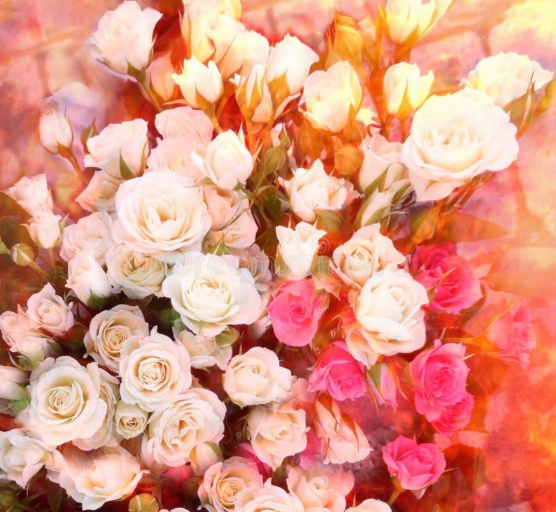 Kwiecisty kartka z pozdrowieniami z bukietem pogodne białe i różowe róże royalty ilustracja