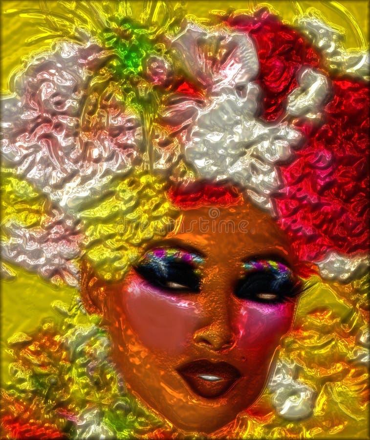 Kwiecisty, kruszcowy abstrakt kobiety twarz, royalty ilustracja