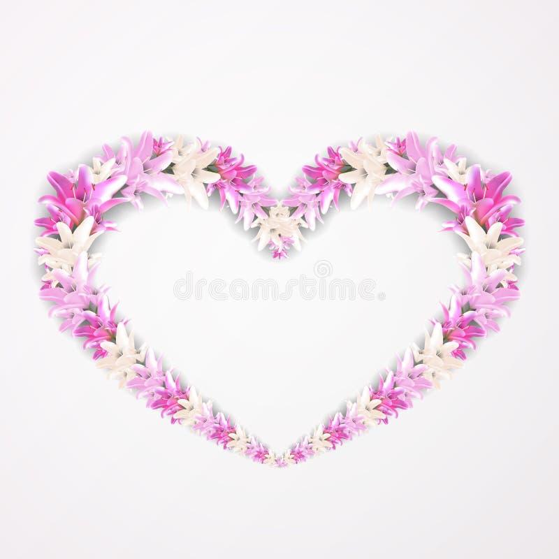 Kwiecisty kształt serce z różową lelują Piękna pocztówka z kwiecistym wzorem Symbol miłość na kartka z pozdrowieniami royalty ilustracja
