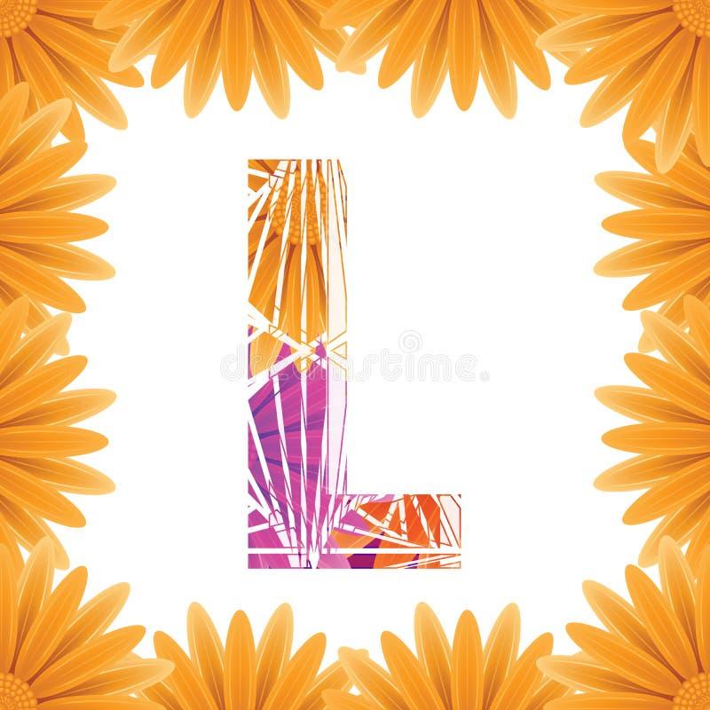 Kwiecisty list L projekta szablon Mother&-x27; s Das kwiatu logo typ projekta Abstrakcjonistyczny abecad?o logo poj?cie zdjęcie stock