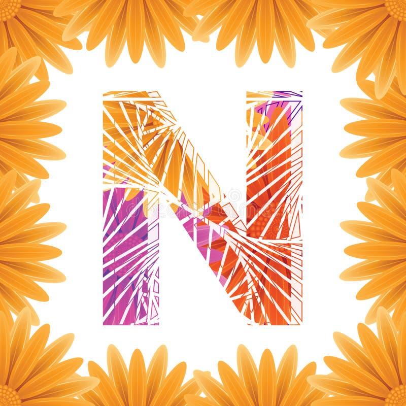 Kwiecisty Listowego N projekta szablon Mother&-x27; s Das kwiatu logo typ projekta Abstrakcjonistyczny abecad?o logo poj?cie zdjęcie stock