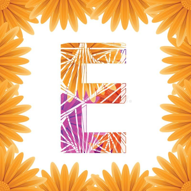 Kwiecisty listu E projekta szablon Mother&-x27; s Das kwiatu logo typ projekta Abstrakcjonistyczny abecadło logo pojęcie zdjęcie stock