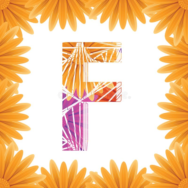 Kwiecisty listu F projekta szablon Mother&-x27; s Das kwiatu logo typ projekta Abstrakcjonistyczny abecadło logo pojęcie obraz royalty free