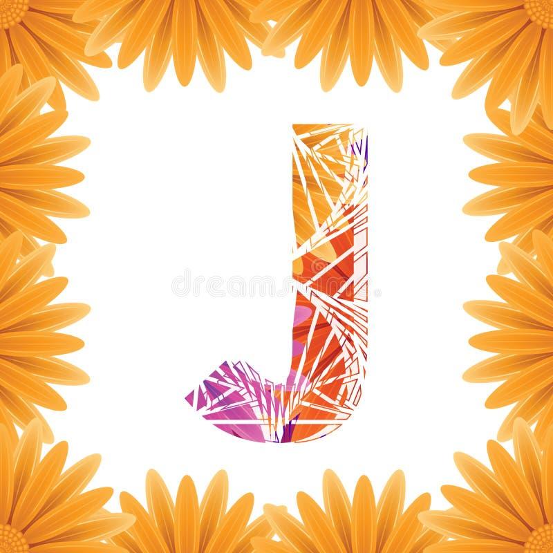 Kwiecisty listu J projekta szablon Mother&-x27; s Das kwiatu logo typ projekta Abstrakcjonistyczny abecad?o logo poj?cie obraz stock