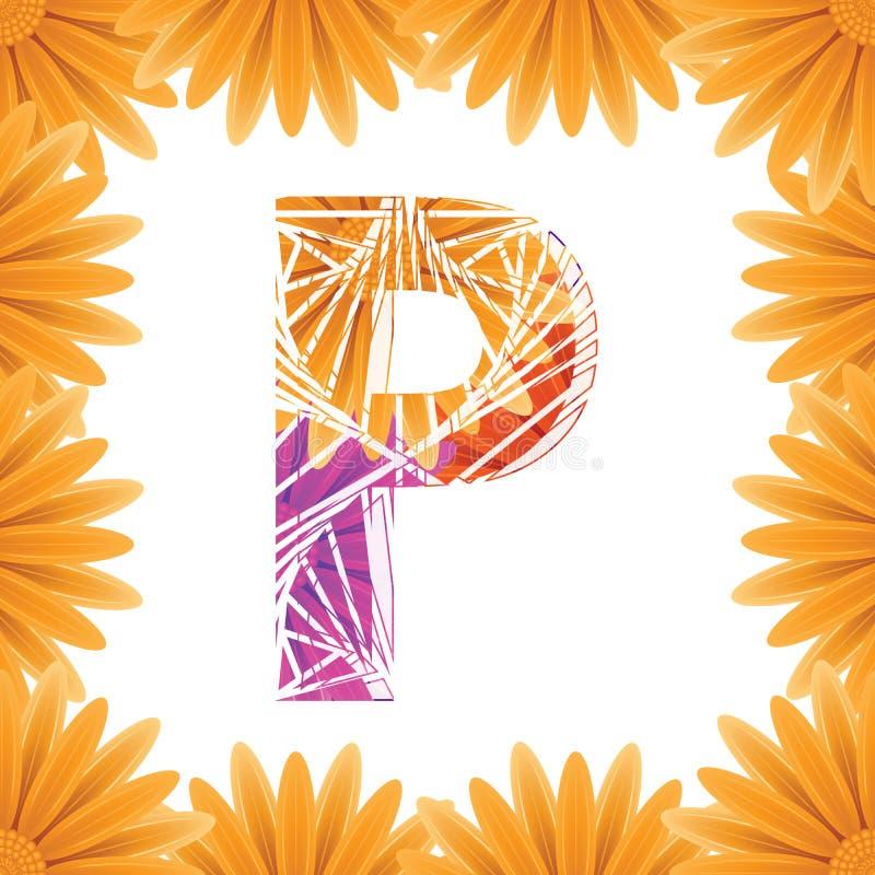 Kwiecisty listu P projekta szablon Mother&-x27; s Das kwiatu logo typ projekta Abstrakcjonistyczny abecad?o logo poj?cie obrazy royalty free