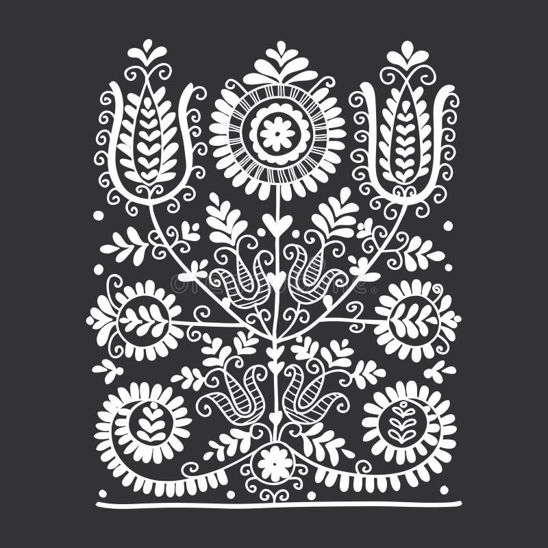 Kwiecisty ludowy ornament ilustracja wektor