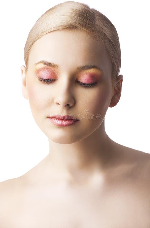 Kwiecisty makeup, obraca trzy czwarte fotografia royalty free