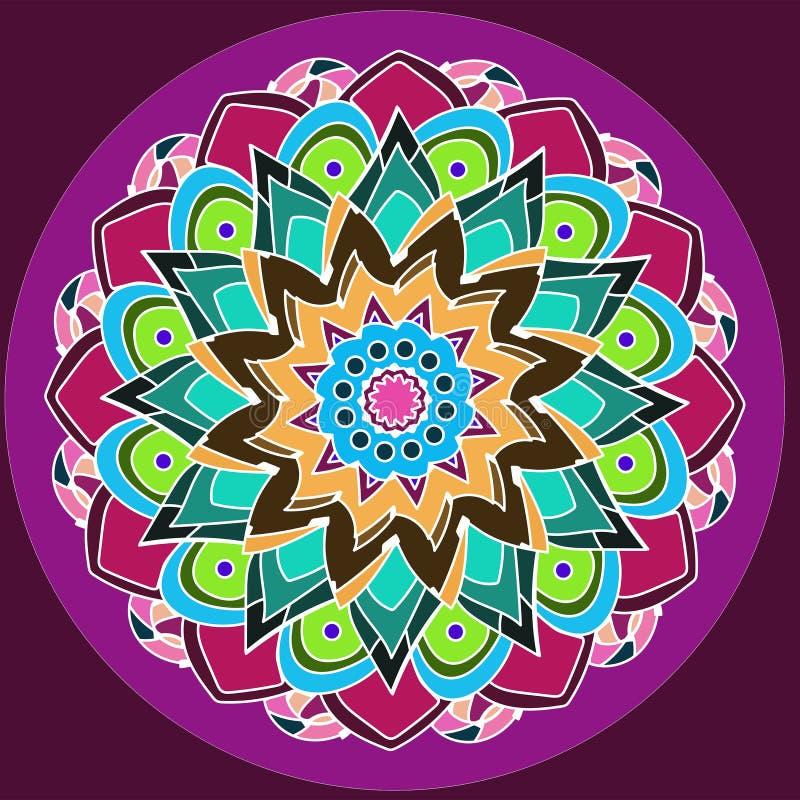 Kwiecisty mandala Dalia kwiat KOLOROWY wizerunek W purpurach, BURGUNDY, zieleń, turkus, menchia, kolor żółty, pomarańcze PALIN fi obrazy stock
