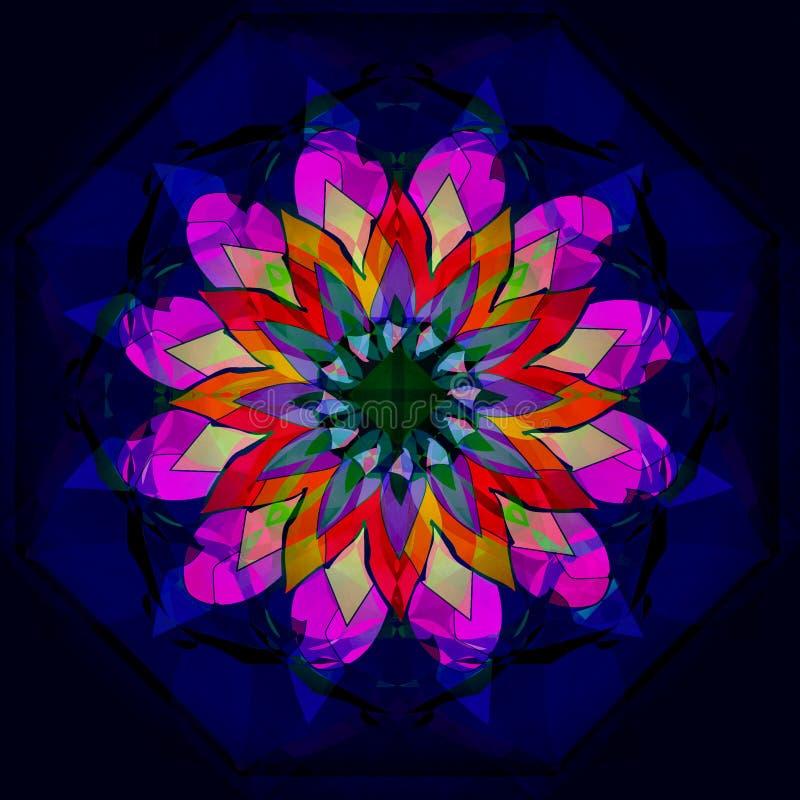 Kwiecisty mandala Rocznika wizerunek RÓWNINY GŁĘBOKI BŁĘKITNY tło ŚRODKOWY kwiat W fuksji, rewolucjonistka, pomarańcze, kolor żół ilustracja wektor