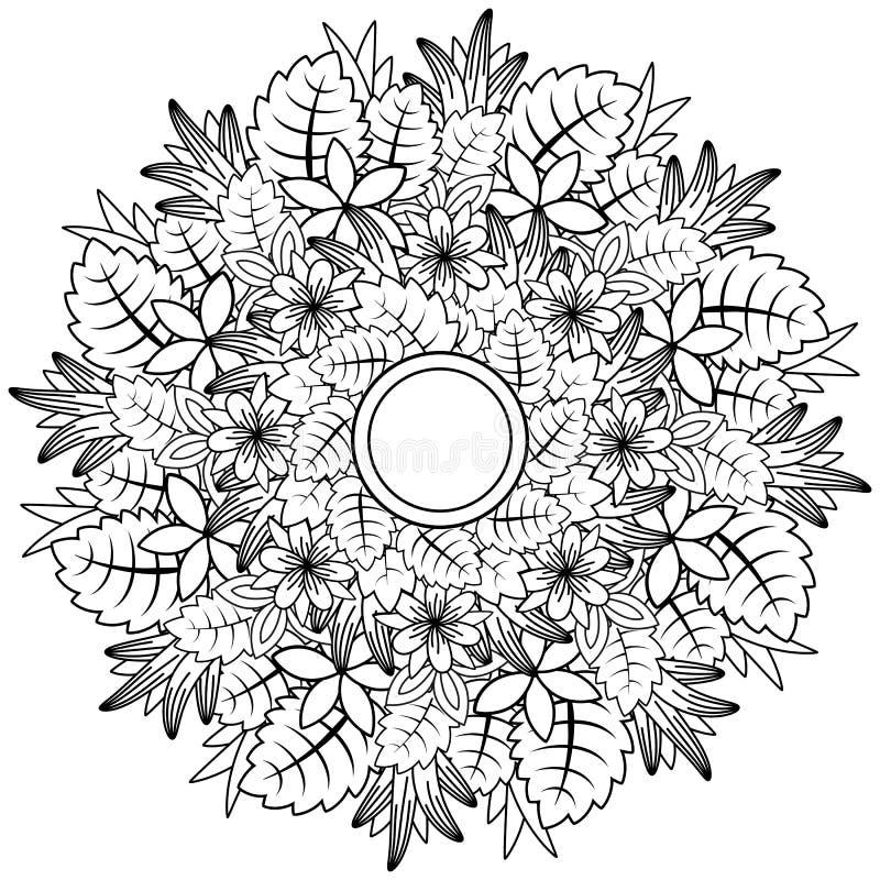 Kwiecisty mandala Wektorowy ilustracyjny zentangl Doodle rysunek Medytacyjni ?wiczenia Kolorystyki ksi??ki anty stres ilustracja wektor