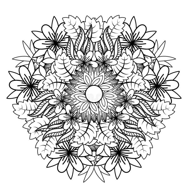 Kwiecisty mandala Wektorowy ilustracyjny zentangl Doodle rysunek Medytacyjni ?wiczenia Kolorystyki ksi??ki anty stres ilustracji