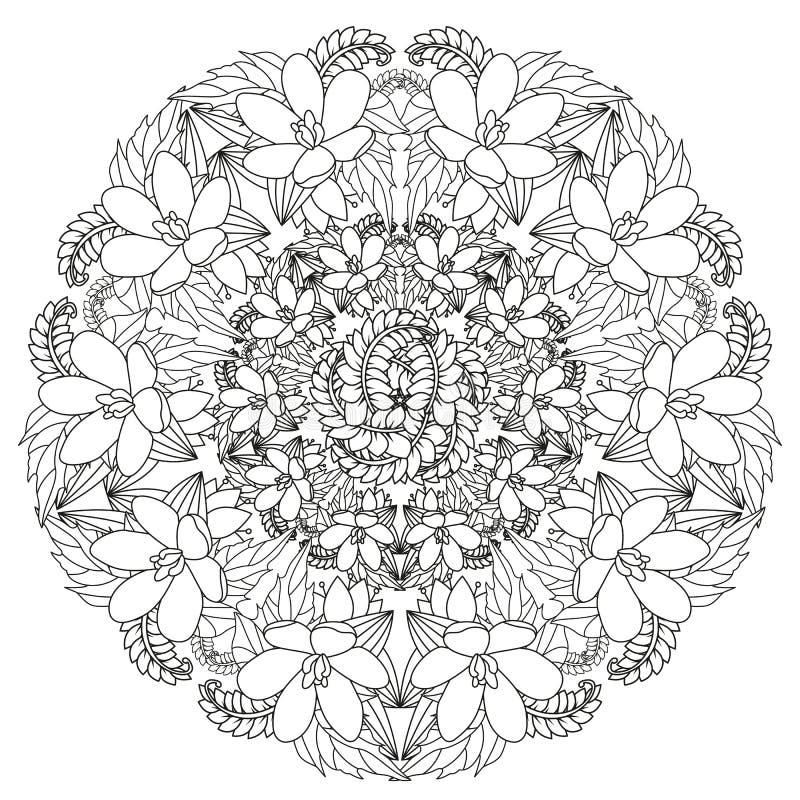 Kwiecisty mandala Wektorowy ilustracyjny zentangl Doodle rysunek Medytacyjni ?wiczenia Kolorystyki ksi??ki anty stres royalty ilustracja