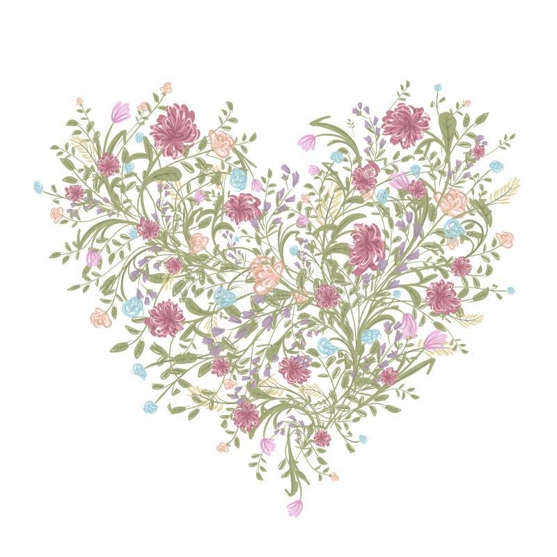 Kwiecisty miłość bukiet dla twój projekta, kierowy kształt ilustracja wektor
