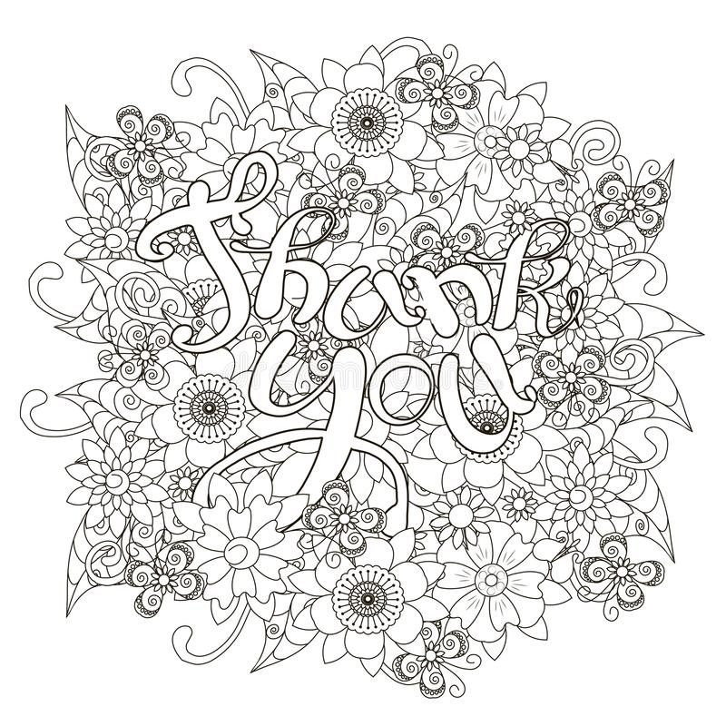 Kwiecisty monochromatyczny doodle stylu tło z ręka rysującym literowaniem Dziękuje ciebie ilustracja wektor