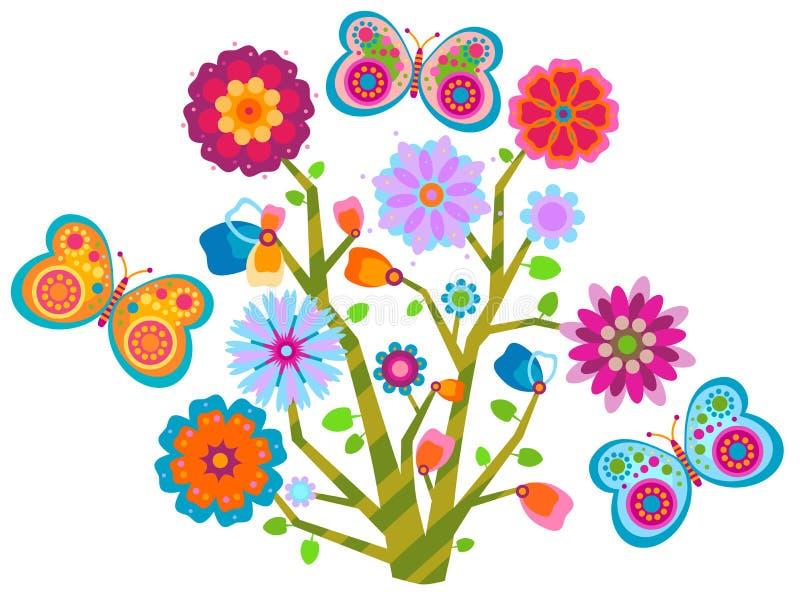 kwiecisty motyla drzewo ilustracji