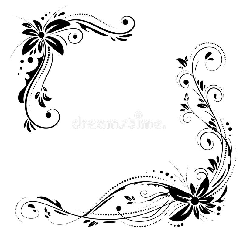 Kwiecisty narożnikowy projekt Ornamentu czerń kwitnie na białym tle ilustracja wektor