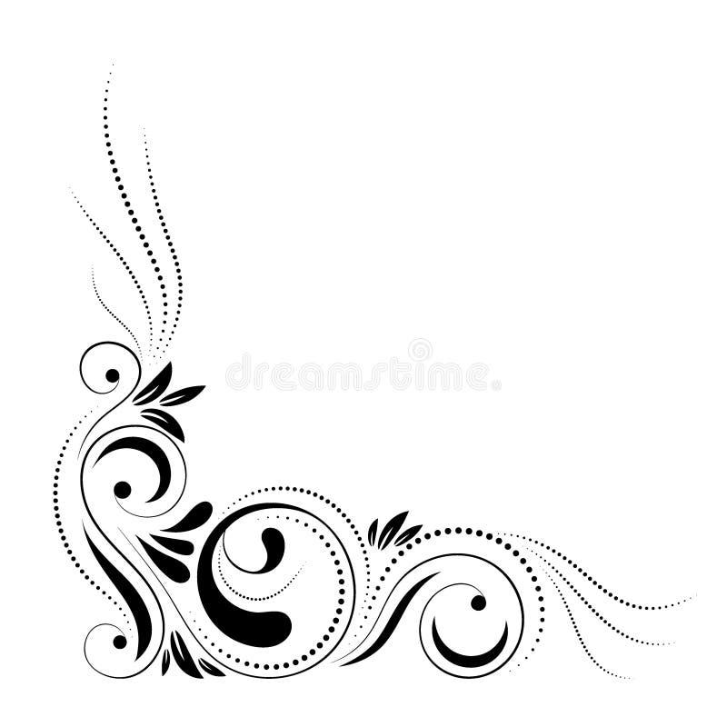 Kwiecisty narożnikowy projekt Wiruje ornament odizolowywającego na białym tle - wektorowa ilustracja Dekoracyjna granica z krzywą royalty ilustracja