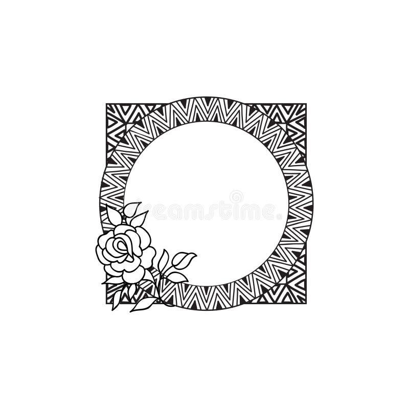 Kwiecisty okrąg ramy zawijasa pochodzenie etniczne Kwiatu różany kartka z pozdrowieniami ilustracji
