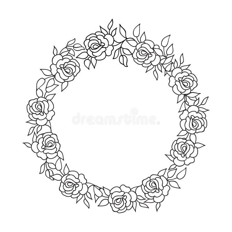 Kwiecisty okrąg ramy zawijasa pochodzenie etniczne Kwiatu różany kartka z pozdrowieniami ilustracja wektor