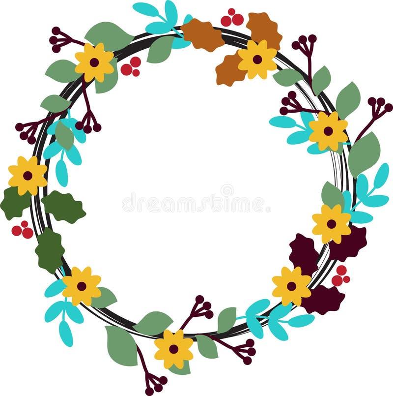 Kwiecisty okrąg z liśćmi, pączkami i kwiatami, ilustracja wektor