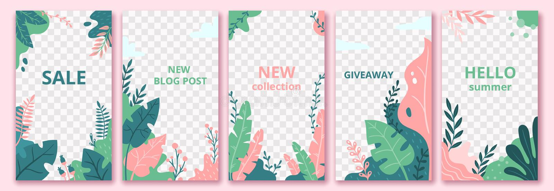Kwiecisty opowieść szablon Ogrodowy flora plakat, kwiatu składu układ i modni ogólnospołeczni medialni opowieść szablony wektorow royalty ilustracja