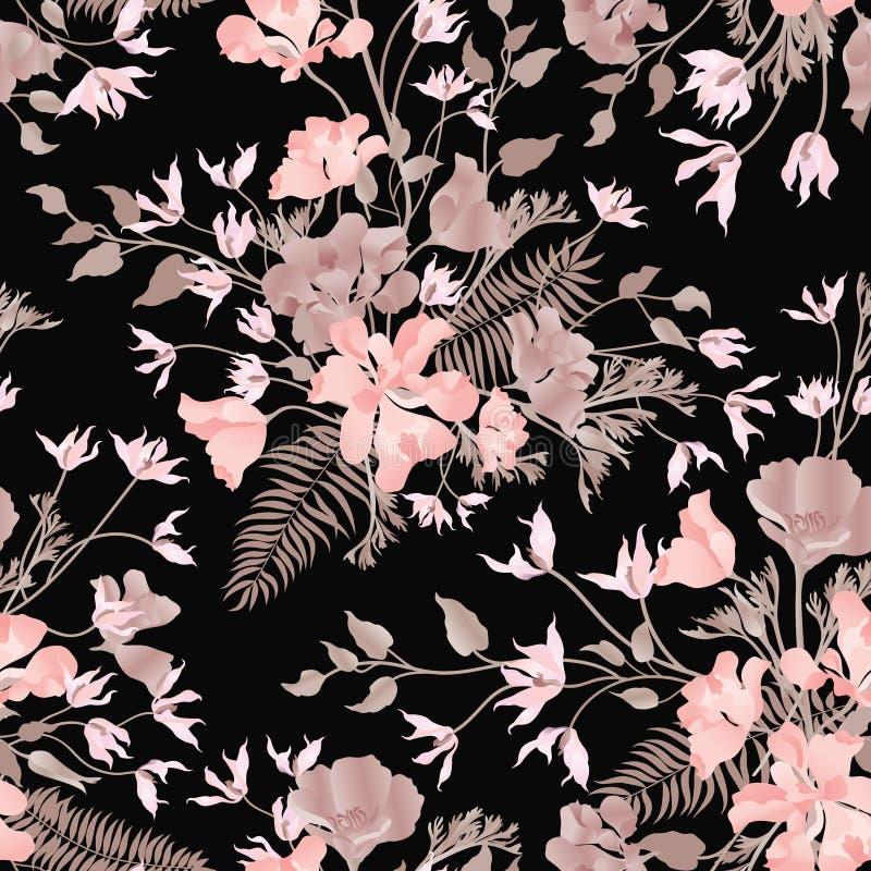 kwiecisty ornamentacyjny bezszwowy wzór Kwiatu ogródu tło Fl royalty ilustracja