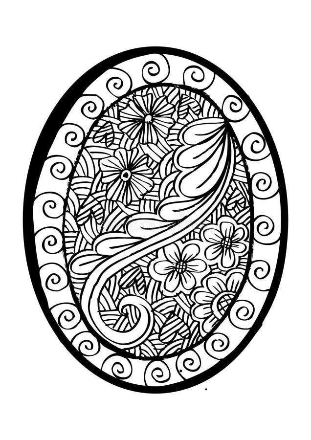 Kwiecisty ornamentacyjny na owal ramie ilustracji