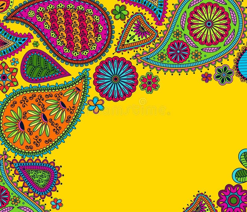 Kwiecisty Paisley tło z indyjskim ormament i miejsce dla twój teksta ilustracja wektor