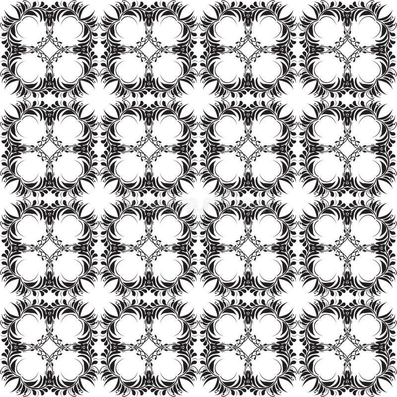 Kwiecisty Paisley wektorowy bezszwowy wz?r t?o biel czarny ornamentacyjny retro stylowy elegancji powtórki dekoracyjny tło Roczni ilustracja wektor