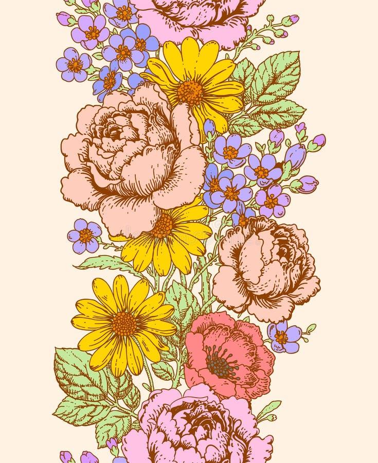 Kwiecisty pionowo bezszwowy wzór royalty ilustracja