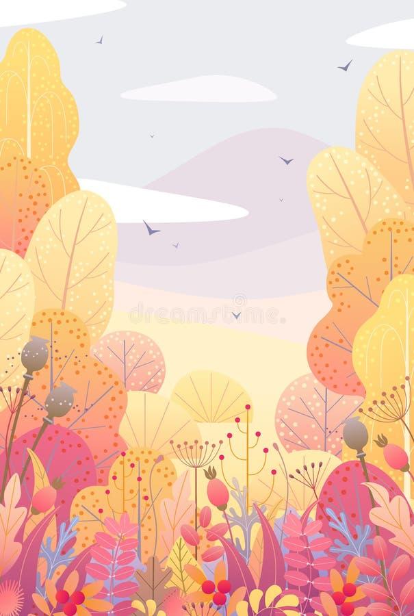 Kwiecisty Pionowo tło z jesieni jagodami i liśćmi ilustracji