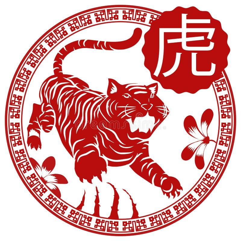 Kwiecisty projekt i narys w guziku z Chińskim zodiaka tygrysem, Wektorowa ilustracja ilustracji