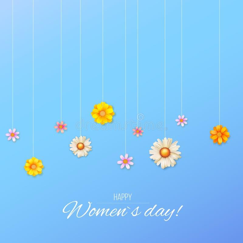 Kwiecisty projekt wzór od lat wildflowers Kwiecisty wektorowy sztandar z wiosny okwitnięciem Powitanie karta dla Szczęśliwego royalty ilustracja